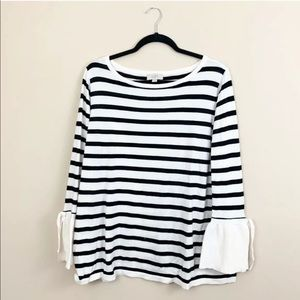 LOFT Outlet Striped Bell Sleeve Sweater Size XL